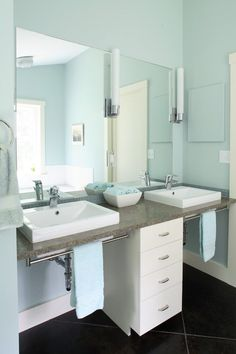 Invacare Wheelchairs Bathroom Contemporary with Above Counter Sinks Blue Blue and White Blue Towels Blue Walls Brown