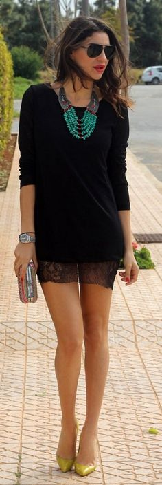 great way to #boho up a an lbd while still looking sophisticated