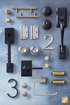 Give your home an easy DIY style update with a mixed-metal hardware makeover. Start by updating your door knobs and door locks, keeping your palette of finishes balanced. Pick two finishes with a 60/40 or 50/50 ratio. If you're creating a space with three different finishes, each one should take up 1/3 of the total. Here we used a combination of matte black, Champagne bronze, polished brass, Venetian bronze, brushed nickel and stainless steel. Click to discover hardware trends on our blog.