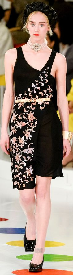 Chanel ~ Pre Spring Black Sundress w Crossover Floral Embroidery  2016