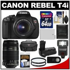 Canon EOS Rebel T4i Digital SLR Camera Body  EF-S 18-55mm IS II Lens with 55-250mm IS Lens + 64GB Card + Case + Flash + Battery + Grip + Filters + Remote Kit