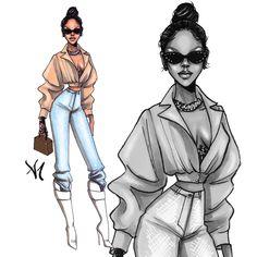 StyleInspiration - Rihanna. Loved this week's street style looks #Rihanna #FashionIllustration #Style