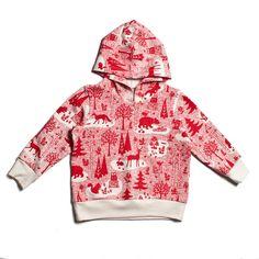 Boy's Hoodie - Winter Forest Red,  Bio-Baumwolle