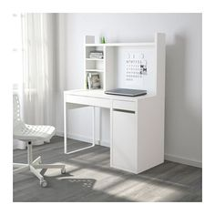 "MICKE Computer work station - white - IKEA -- ""You can keep your desk clear of paper by writing your notes on the magnetic writing board on the back panel or fastening your to-do lists there with a magnet."""
