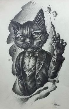 sketch by JerryD Tattoo Artists, Artworks, Sketch, Cats, Sketch Drawing, Gatos, Sketches, Cat, Kitty