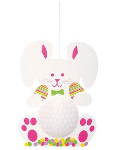 Hase Hängefigur Oster-Deko bunt: Diese Hängedeko stellt einen Osterhasen dar, der mit 35,5 cm Höhe ins Auge fällt. Das Häschen kommt in Weiß mit pinkfarbenen Akzenten. Der Bauch des Hasen ist aus...
