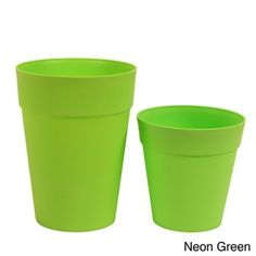 @Overstock - Neon Plastic Garden Pots (Set of 2) - Add a splash of color to your deck, patio or garden with these fun plastic pots in electric neon colors. The bright and drainage-customizable planting set arrives with two pots of the same color in different sizes.    http://www.overstock.com/Home-Garden/Neon-Plastic-Garden-Pots-Set-of-2/7990321/product.html?CID=214117  $39.99 Come and see our new website at bakedcomfortfood.com!