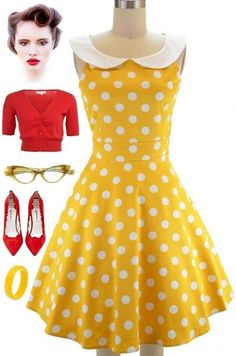 Le Bomb Shop: The yellow and white Dottie sun dress with peter pan collar.