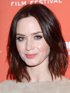 For oval face shape: SHAGGY BOB -  The layers on this A-line bob give the ends a choppy look. Jagged ends make hair look thicker around the jawline, filling in the space where your face looks its thinnest. Use a curling iron to get Emily Blunt's piecey look.