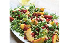 Salat med fersken, brøndkarse og ribs Bruschetta, Smuk, Salad Recipes, Cantaloupe, Potato Salad, Potatoes, Snacks, Ethnic Recipes, Food