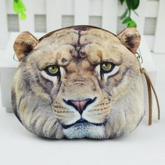Realistic Lion Face Shaped Soft Fabric Zipper Photo Print Coin Purse Make  Up Bag e4b425d0252df