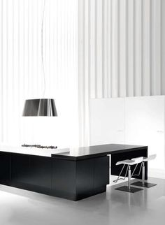 Sleek interior design with black and white contrasting accents _