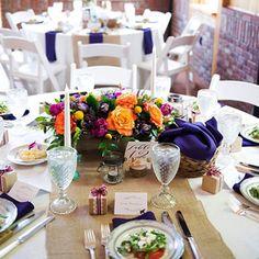 Bright wedding flowers - navy blue wedding - www.bellacalla.com - Bella Calla - Denver Vail Aspen Florist