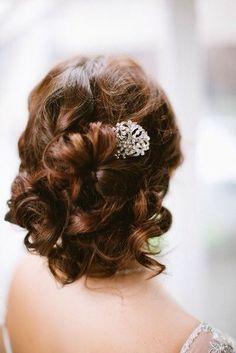 Beautiful wedding short curls and silver with shiny stones brooch #hot #sexy #hairstyles #hairstyle #hair #long #short #medium #buns #bun #updo #braids #bang #greek #braided #blond #asian #wedding #style #modern #haircut #bridal #mullet #funky #curly #formal #sedu #bride #beach #celebrity #simple #black #trend #bob #girls
