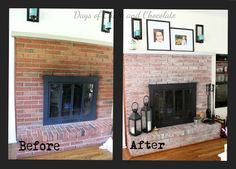 Days of Chalk and Chocolate: WhiteWashed Fireplace Mini Tutorial