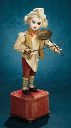 "Forever Young - Marquis Antique Doll Auction: 311 French Bisque Musical Automaton ""The Fiddling Chef"" by Roullet et Decamps"