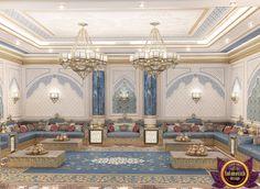 Majlis Interior Design in Dubai, Luxury arabic majlis, Photo 2 Luxury Homes Interior, Luxury Home Decor, Interior Exterior, Modern Interior Design, Interior Architecture, Arabian Decor, Interior Sliding Barn Doors, Contemporary Bedroom, Luxurious Bedrooms