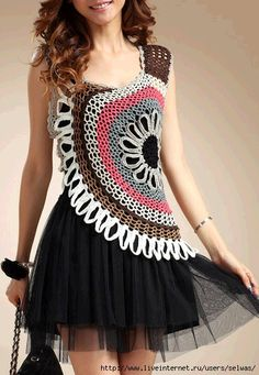 Asymmetrical crochet tunic