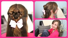 I love Valentine's hairstyles! Of all the holidays, Valentine's Day is my favorite around which to style hair. there is something simply so cute and romant. Valentine's Day Hairstyles, Cute Girls Hairstyles, Flower Girl Hairstyles, Trendy Hairstyles, Wedding Hairstyles, Twist Braids, Scene Hair, Hair Videos, Hair Inspiration