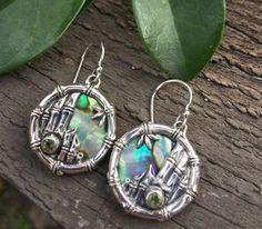 Garnet, Abalone (Paua) sterling silver earrings with Bamboo motif from Bali
