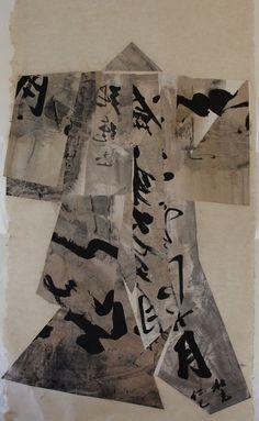Paper Kimono by Maria Tupay Duque, 2012. 200cm H x 110cm W. Collage ink, broux de noix, hem and rice paper.