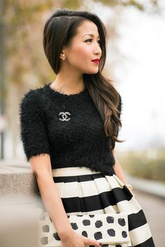 Mix Patterns :: Striped skirt & Polka dots clutch