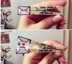 Valentine Day-craft idea-Message clothes pin