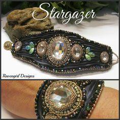 STARGAZER Bead Embroidered Shibori Silk Cuff designed by RAVENGIRL DESIGNS on Facebook