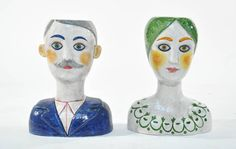 Pair of Mid-Century Horchow Italian Ceramic Bust Vases at 1stdibs