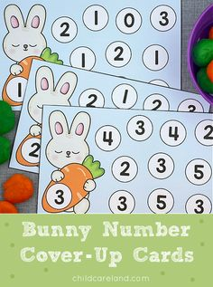 Bunny Number Cover-Up Cards Early Learning Activities, Motor Activities, Classroom Activities, Fine Motor Skills Development, Easter Bunny, Color Patterns, Kindergarten, Preschool, Cover Up