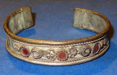 "Bracelet Vintage Cuff Afghan Kuchi Tribal Alpaca Silver 2.5"" dia"