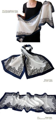 Hand painted silk scarf Navy scarf White scarf floral Stylish