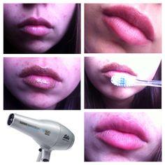 Agrandar labios/ lip plumper 1: poner pinienta 2:cepillar en forma circular 3:poner secador de cabello, intensidad media 4:limpia y ve los resultados!