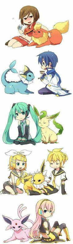 Meiko, Miku, Kaito, Rin, Len, Megurine Luka, Flareon, Vaporeon, Leafeon, Jolteon, Espeon, Vocaloid, Pokémon, crossover, cute; Anime