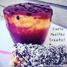 Snacking doesn't have to mean unhealthy-Make a simple fresh fruit smoothie or a fun banana stick! I'm enjoying a mixed berry & mango smoothie drizzled with dark chocolate along with a dark chocolate covered banana coated in unsweetened coconut-Yum to healthy treats #Healthy #Smoothie #Paleo #Healthytreat #HealthySnack #Banana #Dairyfree #Grainfree #Glutenfree