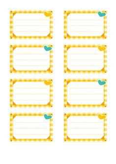 Etiquettes pour cahiers à imprimer : décoration vichy Imprimer cette planche d'étiquettes pour cahiers gratuitement en PDF (format A4) Name Tag For School, I School, Back To School, Classroom Labels, Classroom Themes, Printable Labels, Printables, Quilting Stitch Patterns, School Border