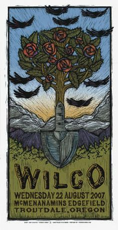 Wilco concert poster Aug 22, 2007, Troutdale, Oregon by Gary Houston