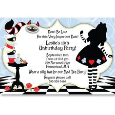 alice in wonderland sweet 16 ideas | Alice In Wonderland Personalized Invitations | Skye's Sweet 16 Ideas