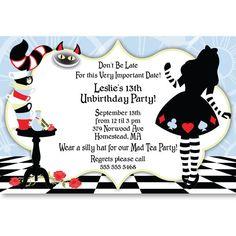 alice in wonderland sweet 16 ideas | Alice In Wonderland Personalized Invitations | Skye's Sweet 16 Ideas
