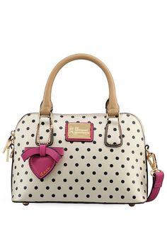 So cute! Polka Dot Printed Tote Bag,cute bags,vintage bags,cute handbags,polka dots bags
