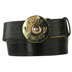 This solid brass 'Fully Loaded' buckle is great fun for those who shoot and those that don't! The black crocodile print belt comes from the finest leather embossing company who produce the most realistic prints. The belt width is 30mm and will fit through all standard jean belt loops.