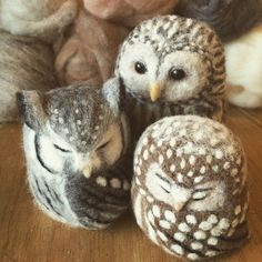 Beautiful felted owls | pinned by weememories {www.weememories.net}