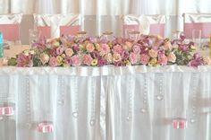 kompozycja kwiatowa na stół Pary Młodej. Pastele, pudrowy róż