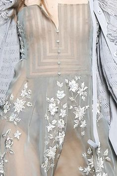 Sheer dress with floral embroidered applique; soft feminine fashion details // Christian Dior