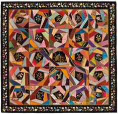 crazy quilts | Mary A. Stinson (American). Crazy Quilt , circa 1880. Silk, 81 1/4 x ...