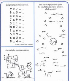 Cuaderno tablas de multiplicar (26) Multiplication Facts Worksheets, Multiplication And Division, Class 8, Math Class, Dyslexia Activities, School Frame, Times Tables, Prepositions, School Projects