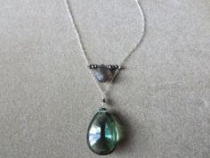 Green Topaz & Labradorite Pendant www.halliescomet.com