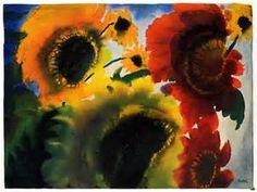 1966 Print Emil Nolde Sunflower Watercolor