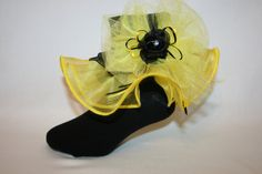 Girls Black Socks with Yellow Organza and Illusion Bow Accented with Yellow and Black Satin Ribbon Bows and Flower by SocksForAPrincessLLC on Etsy