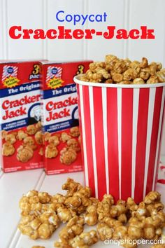 If you are a fan of Cracker Jack you are going to love having this Copycat CrackerJack Recipe. My hubby loves his Cracker Jack but for such a little box it Popcorn Snacks, Popcorn Recipes, Cracker Jack Popcorn Recipe, Cracker Recipe, Popcorn Balls, Flavored Popcorn, Yummy Treats, Sweet Treats, Yummy Food